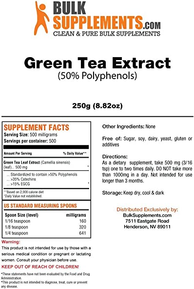 BulkSupplements Green Tea 50 Polyphenols Powder 250 Grams