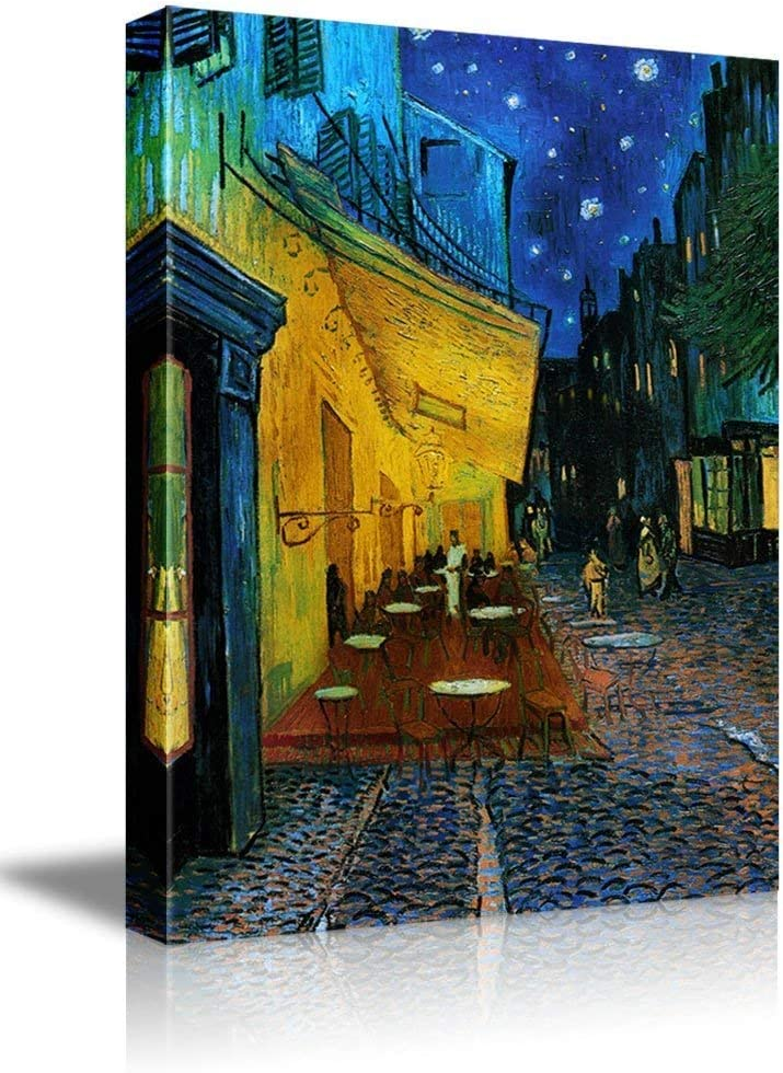 signwin - Canvas Wall Art - Cafe Terrace at Night Van Gogh - Poster Giclee Wall Decorations for Living Room High Definition Printed - 16x24 inches