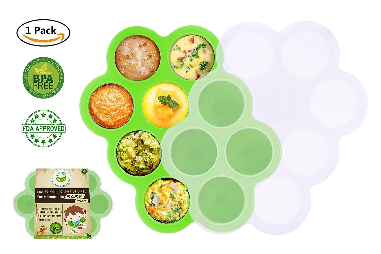 Bandeja de comida para bebés de silicona con tapa - Contenedores de platos reutilizables Comida para bebés DIY - Vegetales, purés de fruta, leche materna ...