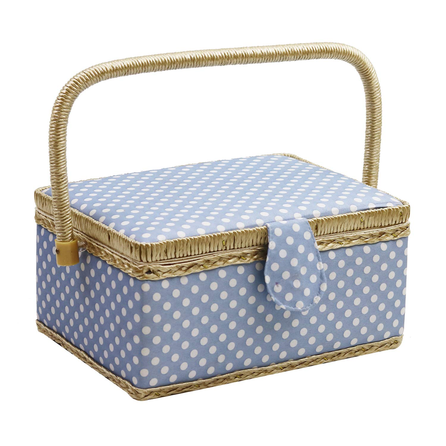 D& D Sewing Basket with Sewing Kit Accessories, Medium, Blue, 13400-701 13400-700