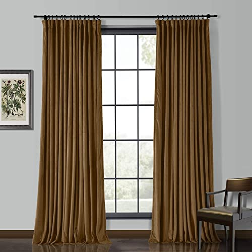 ChadMade Extra Wide 150 Wx84 L Velvet Curtain Panel with Lining Blackout Heavyweight Pinch Pleat Curtain for Sliding Door Patio Door, Java 1 Panel