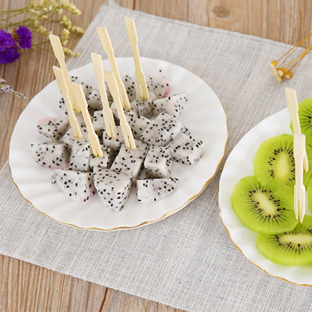 100/pi/èces 8,9/cm en bambou f/ête fourchettes /à cocktail Mini fourchettes Buffet fourchettes de fruits