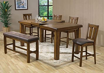 1PerfectChoice Morrison Counter Height Dining Set Table Butterfly Leaf  Chair Storage Bench Oak