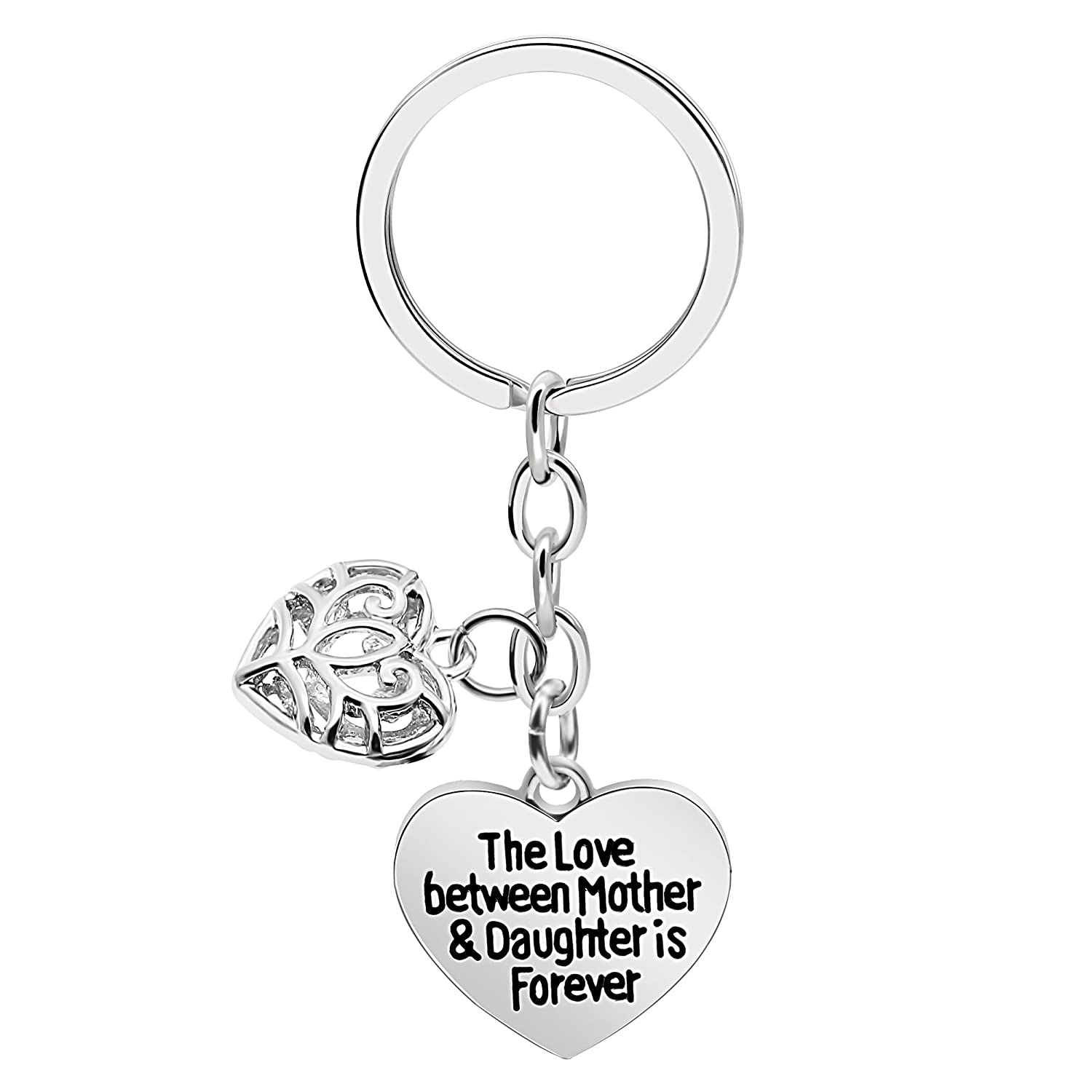 Double Pendant Key Chain Ring Mother Day Gift Love Heart Mom The Love Between Mother and Daughter is Forever AGR8T