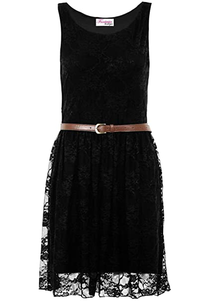 Fantasia Boutique Ladies Celeb Franki Sleeveless Belted Mesh Lace Lined Floral Skater Pleated Dress