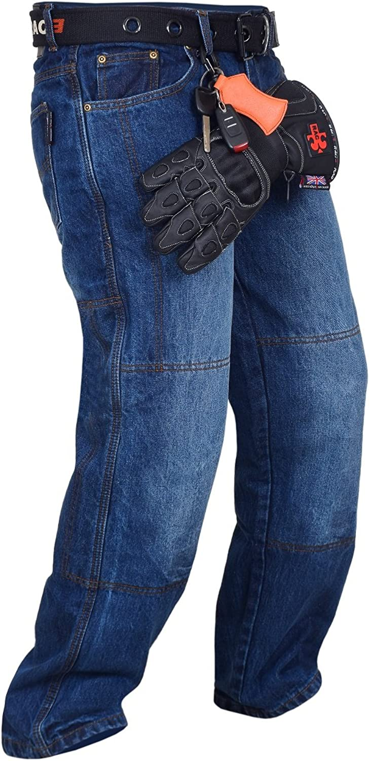 RAC3 Original Mens Motorbike Protective Armoured Lining Denim Jeans Trousers