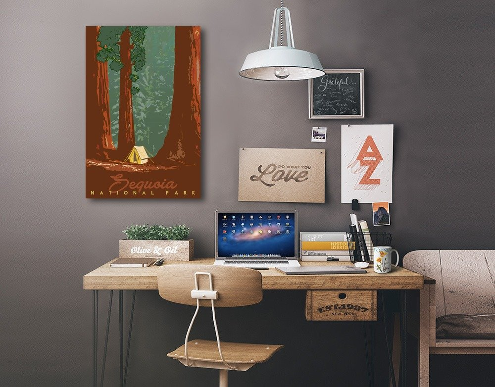 Sequoias and Tent Sequoia National Park Redwood Forest View 12x18 Gallery Wrapped Stretched Canvas California