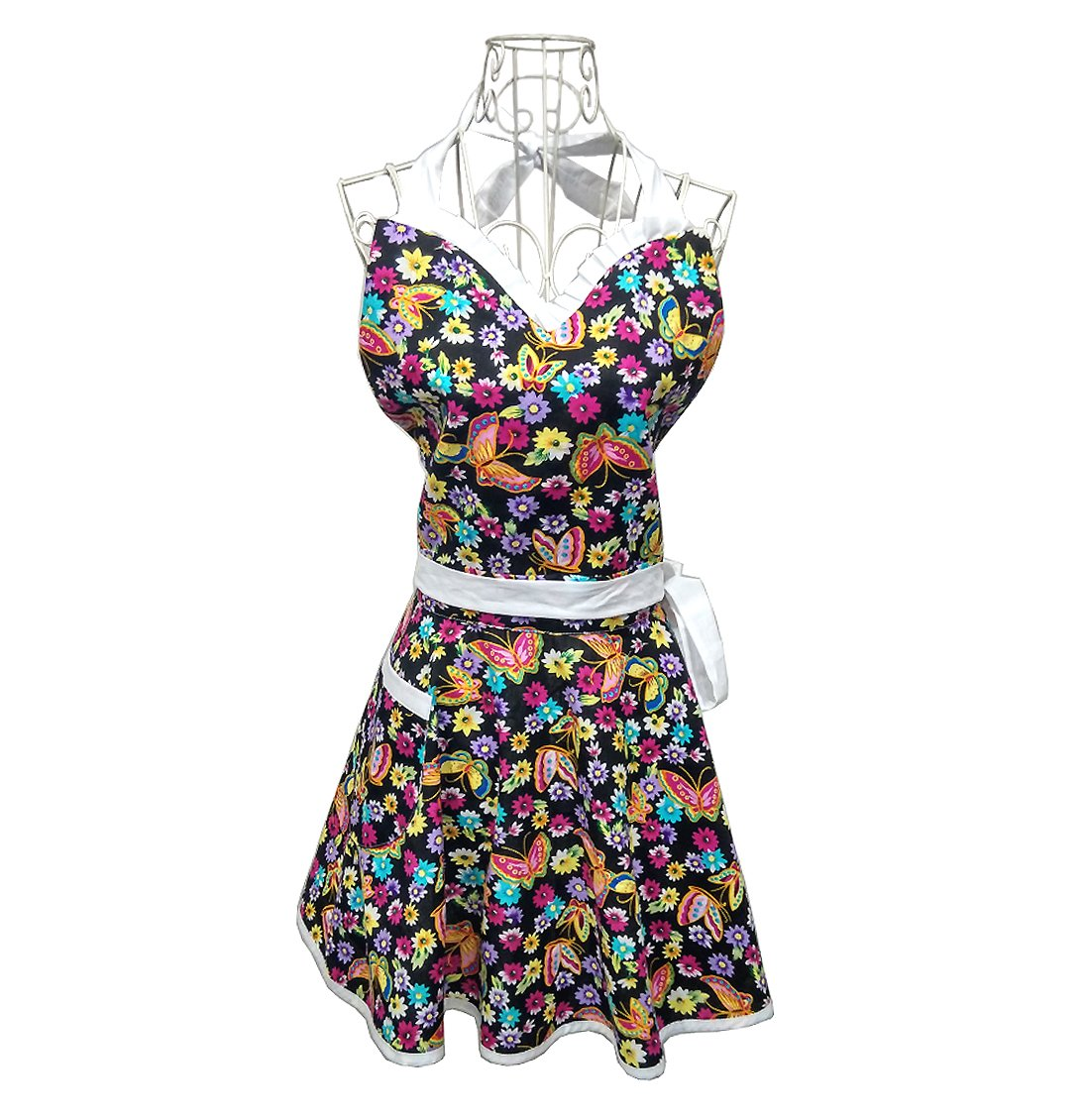 Hot Stylish Flower Pattern Women's Fashion Floral Cotton Chef Cooking Cook Apron Bib with Pocket