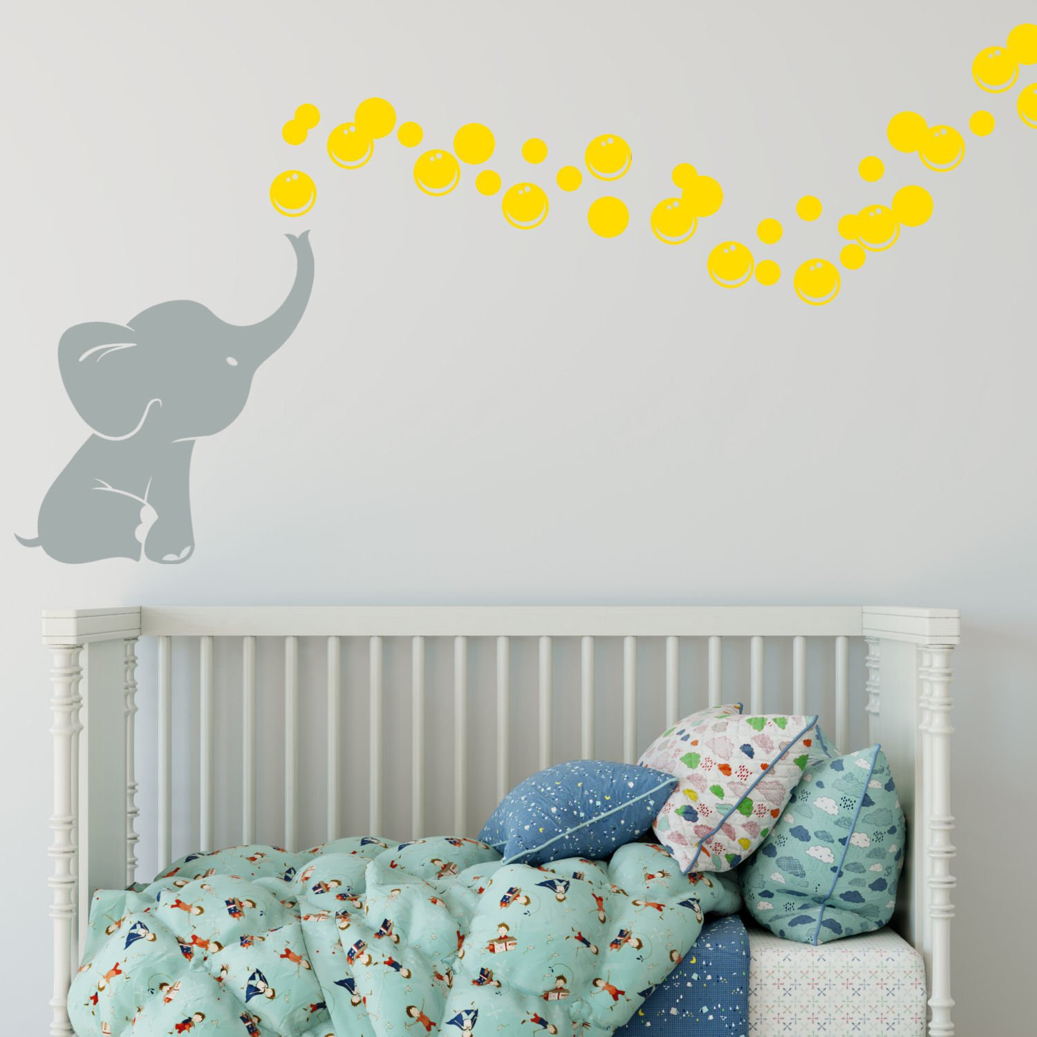 Elephant Bubbles Vinyl Wall Decal Custom, Choose Elephant and Bubble Color Makes a great baby shower gift, nursery room decor - gry yellow