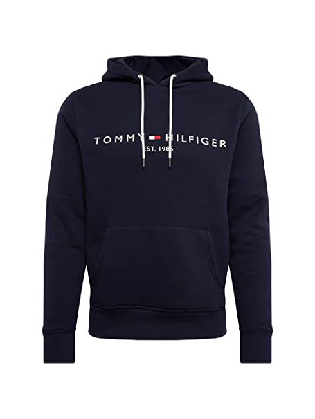 6cb1330e385a9d Tommy Hilfiger Men's Jersey Logo Hoodie Blue: Amazon.co.uk: Clothing