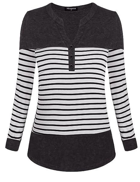 Miagooo Womens Long Sleeve Notch Neck T Shirts Color Block Striped ... 243513d4b7
