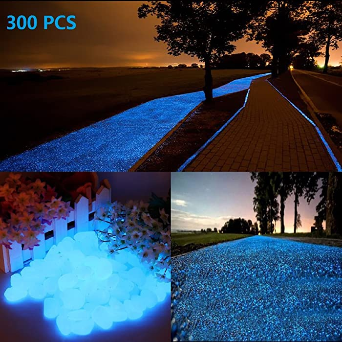 chic style 300pcs Glow in the dark Garden Pebbles, Gardening Luminous Glow Stones Outdoor Decor Glowing Water Fish Tank Gravel (Blue)