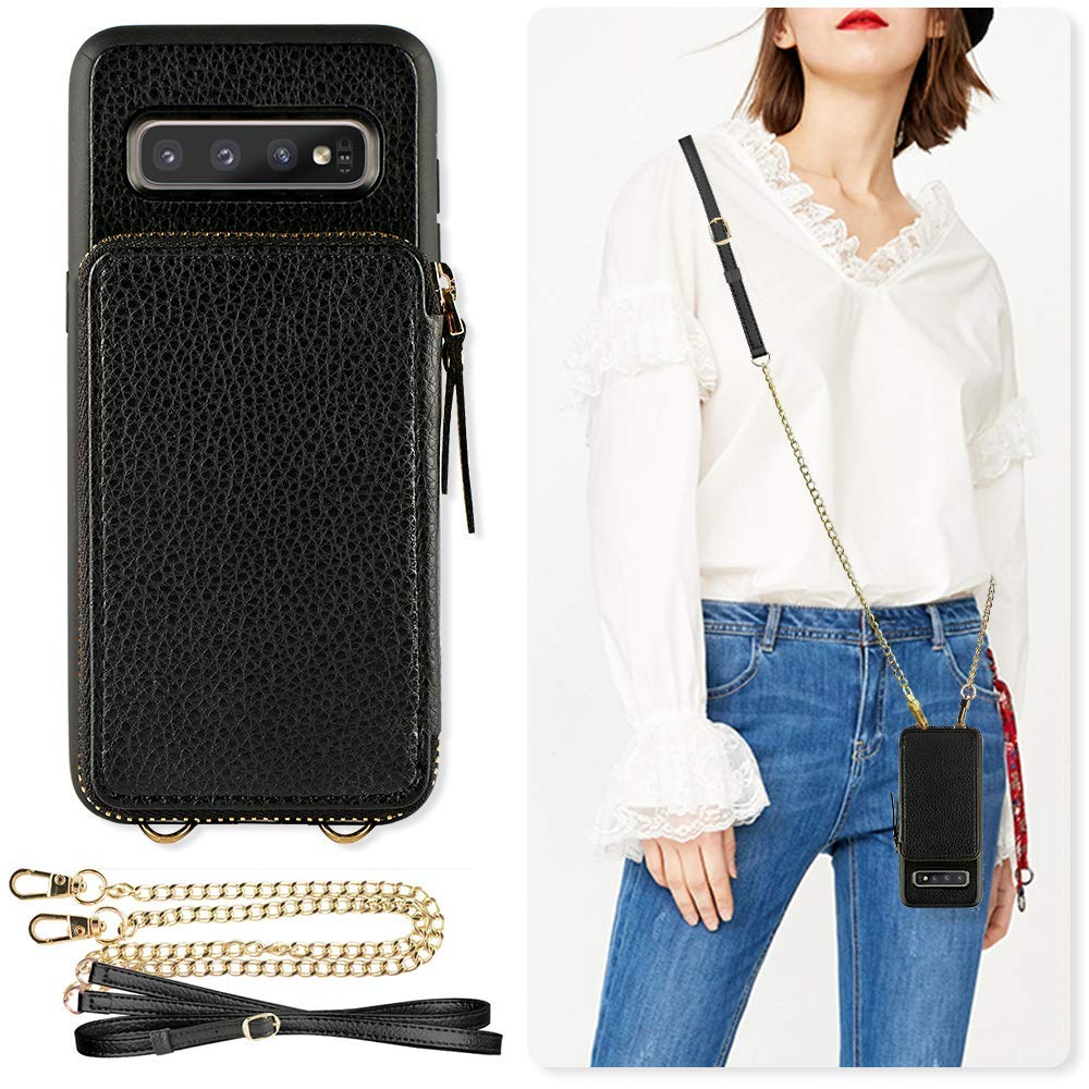 Samsung Galaxy S10+ Case, ZVE Galaxy S10 Plus Wallet Case with Credit Card Holder Slot Crossbody Chain Handbag Purse Zipper Case Cover for Samsung Galaxy S10 Plus (2019), 6.4 inch - Black by ZVE