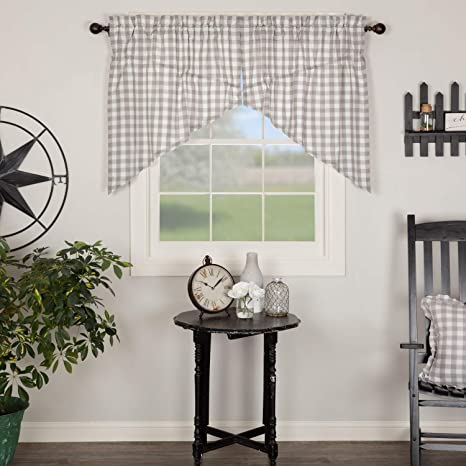 VHC Annie Buffalo Red Check Country Cottage Chic Window Long Prairie Curtains