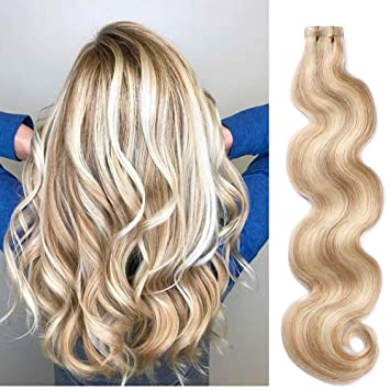 Body Wave Tape in Extensions with Highlights Golden Brown with Blonde Mixed  Remy Hair Extensions Wavy