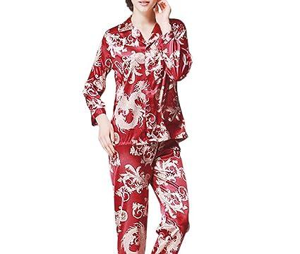 0495378f80b4 Habitaen Women Pajama Sets Ladies Summer Faux Silk Pajamas Pants 2 ...