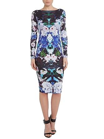 Lipsy KK Kardashian Kollection Long Sleeve Blue Floral Midi Bodycon Dress (UK 12)