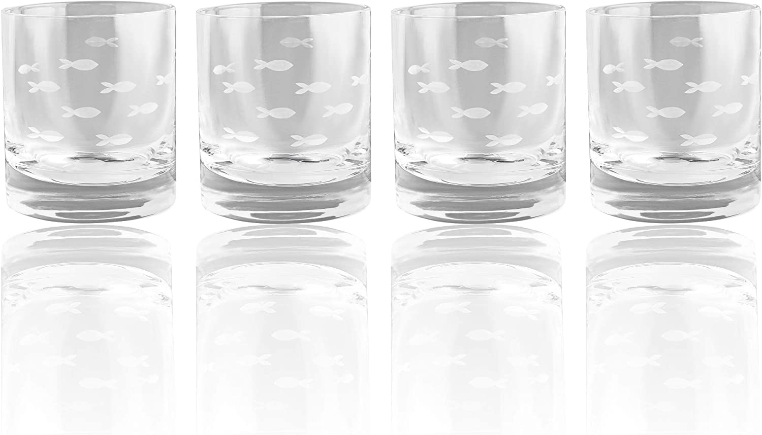Fish Old Fashion Drinking Glasses, Fish Glasses For White and Red Wine, Water or Whiskey, by The Wine Savant, Each Glass Is Individually Sand Etched - Fish Wine Glasses