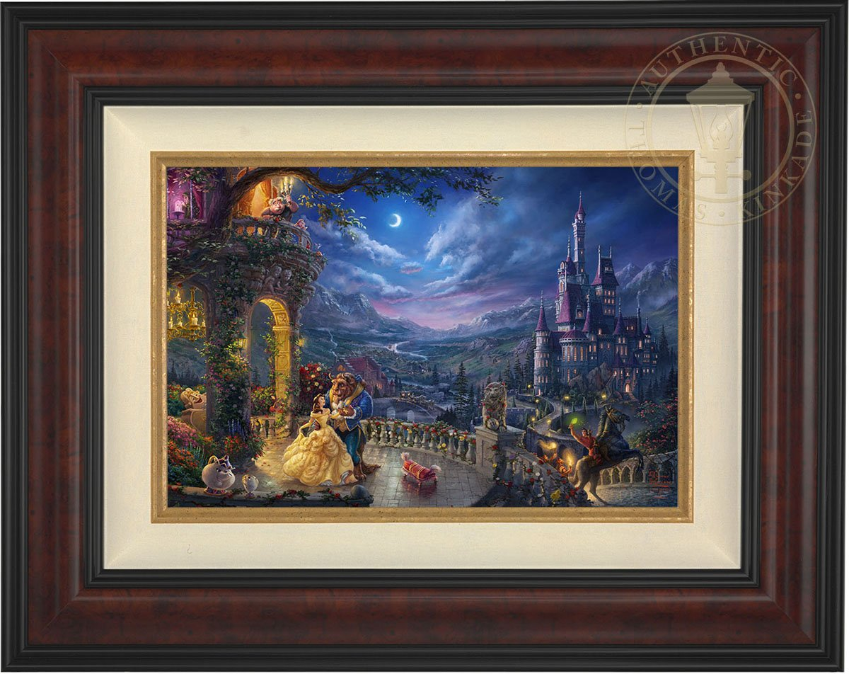 Thomas Kinkade Beauty and the Beast Dancing in the Moonlight 12'' x 18'' Standard Number (S/N) Limited Edition Canvas (Burl Frame)