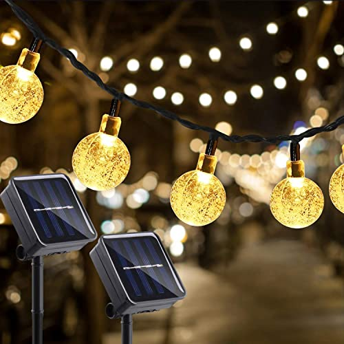KNONEW 2 Pack Garden Solar Lights, 30 LED 21.3ft Include 6.5ft Extension Cord 8 Modes Waterproof Outdoor Patio Globe Ball String Lights for Patio Yard Garden Party Christmas Decoration Warm White