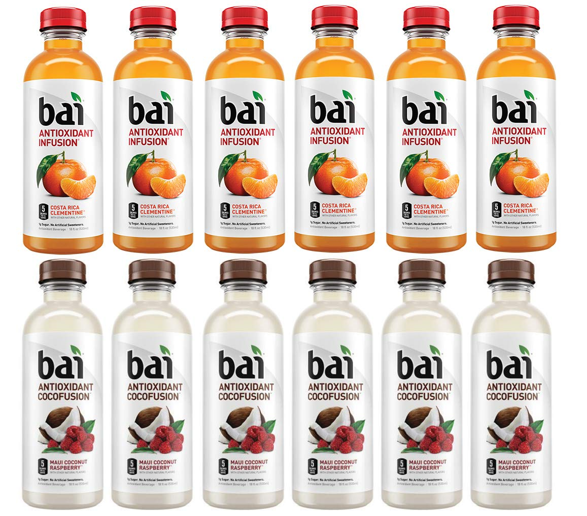 LUV-BOX Variety BAI ANTIOXIDANT Water pack , pack of 12 , 18 fl oz , INFUSION COSTA RICA CLEMENTINE ,COCOFUSION BEVERAGE MAUI COCONUT RASPBERRY