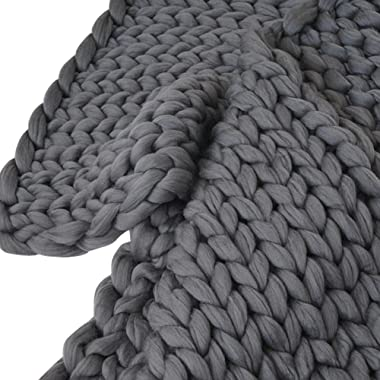 Transer Hand Chunky Arm Knit Blanket Thick Yarn Bulky Knitted Throw 31.5x39.4 inches (Dark Gray)