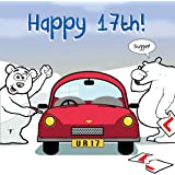 Twizler Funny Birthday Card with Polar Bear, Car and Ripped Learner Plates – 17th Birthday Card – Humour Card - Age 17 Birthday Card - Funny Card