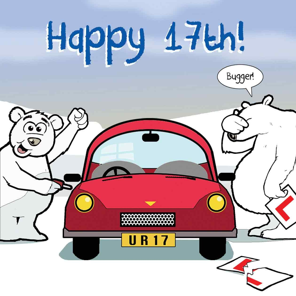 Twizler Funny Birthday Card With Polar Bear Car And Ripped Learner Plates 17th