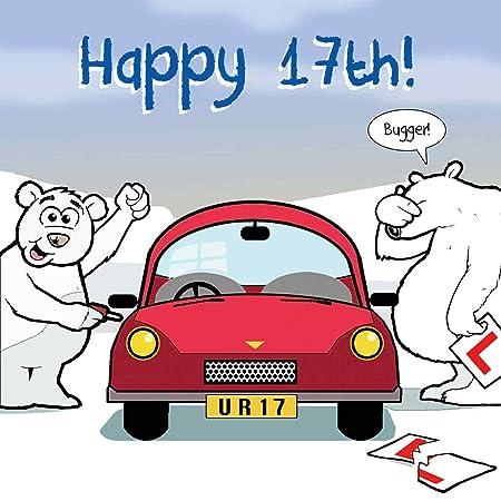 Twizler Lustige Geburtstagskarte Mit Eisbaren Auto Zum 17