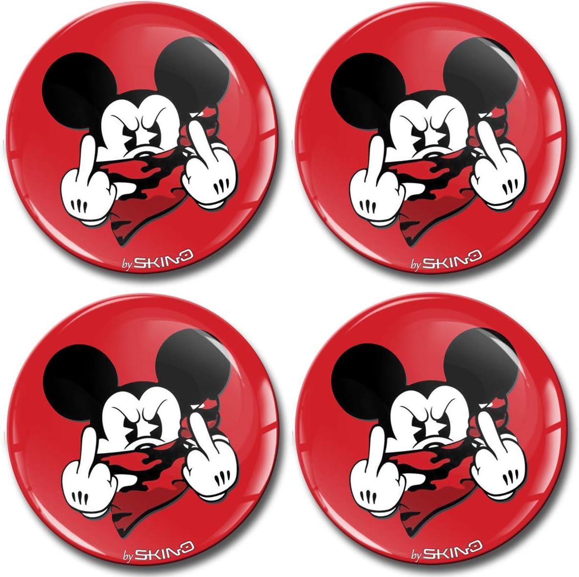Skinoeu 4 X 55mm Aufkleber 3d Gel Silikon Autoaufkleber Stickers Maus Mouse Mittelfinger Felgenaufkleber Für Radkappen Nabenkappen Nabendeckel Auto Tuning Andere Größe A 3555 Auto