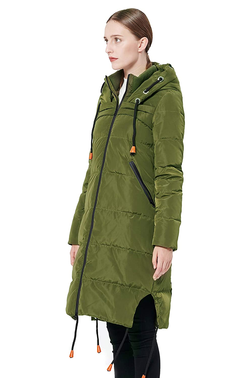 Orolay Womens Thickened Contrast Color Drawstring Down Jacket Hooded Coat