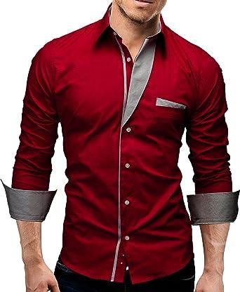 CEDRESS Camisa para Hombres diseño Camisas (M, Rojo): Amazon.es: Ropa y accesorios