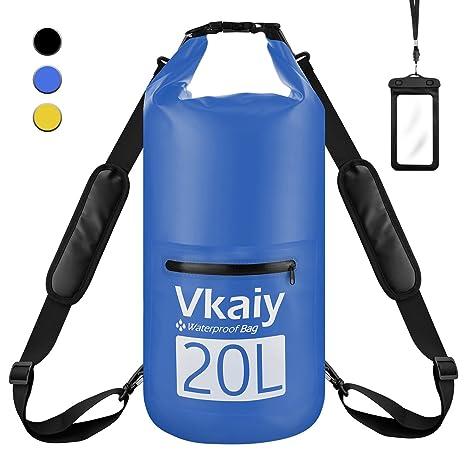 20L Bolsa Seca Impermeable, Vkaiy Set de Bolsa Estanca con Funda Impermeable Táctil para Playa y Deportes al Aire, Rafting/ Kayak Navegación/ ...