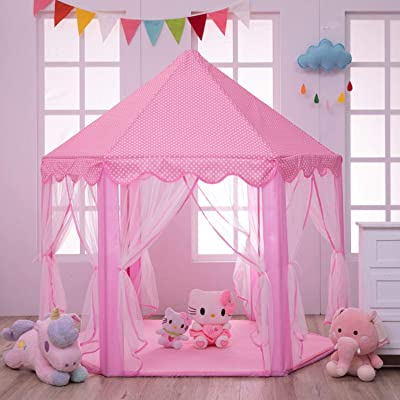 Colordream Pink Princess Castle Tent for Girls Large Castle Playhouse for Kids Hexagon Durable and Cute Princess House Toys,Dream House for Indoors, Children Party: Toys & Games