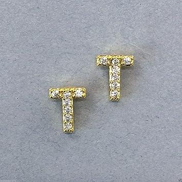 b5a3d0170c4 Amazon.com: Trendy Gold Finish Accent Initial T Cubic Zirconia ...