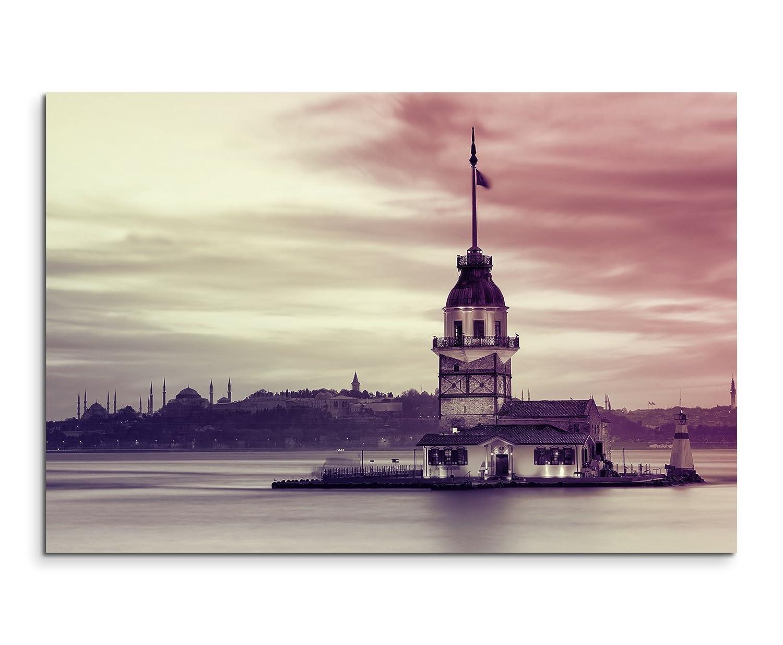 120x 80cm XXL énormes Photos montée avec cadre en bois véritable Mauve Tour de Léandre Istanbul
