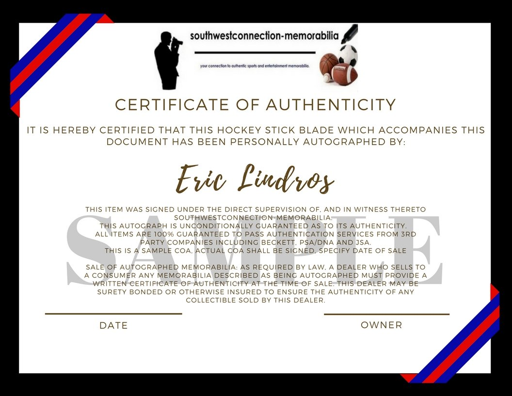 New York Rangers Eric Lindros Autographed Hand Signed NY Rangers Logo Ice Hockey Stick Blade with Proof Photo of Signing and COA