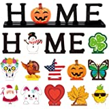 Home Table Decoration Set with 12 Pieces Wooden Decorative Sign Home Letter Sign Blessed Table Centerpiece Wooden Plaque…