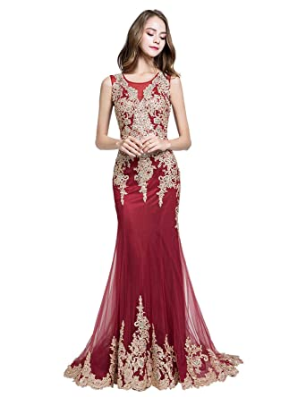 f6fcd4a1264 anmor Womens Mermaid Prom Evening Dress Tulle Rhinestone Formal Pageants  Party Gowns Burgundy US2