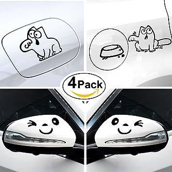 Foonii 4 Stück Auto Aufkleber 2 Stück Lächeln Gesicht Design 3d Aufkleber Dekoration Aufkleber Für Auto Seitenspiegel 2 Stück Autoaufkleber Cat