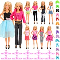 Miunana Dolls Clothes & Accessories 10 Outfits + 10 Shoes + 10 Hangers