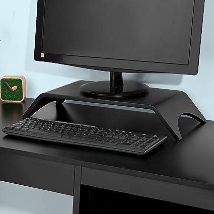 Supporto Schermo di Computer 2 Livelli Desktop Monitor Schermo Stand GOTOTO Supporto in Legno per TV Supporto per Monitor di Legno 38 x 20 x 10cm PC Computer e Laptop Bianco