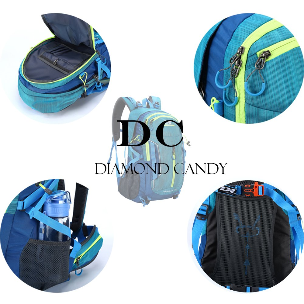 Outdoor Ultralight Waterproof Sport Backpack - Diamond Candy Trekking Rucksack with Rain Cover for Mountaineering Hiking Camping Travel Multi-functional Daypack