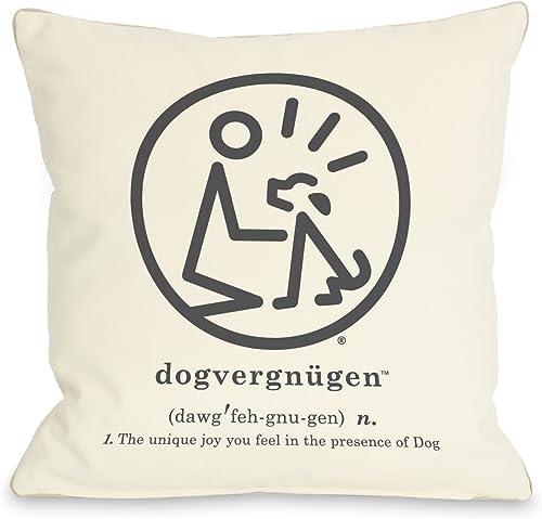 One Bella Casa Dogvergnugen Throw Pillow, 16 by 16-Inch