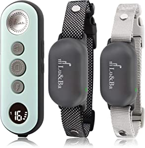 Lu&Ba Dog Training Collar,3000ft Shock Collar for 2 Dogs with Remote Rechargeable Ipx7 Waterproof E Collar with 3 Safe Mode Beep Vibration and 16 Shock Level for 10-110 lb Small Medium Large Dogs