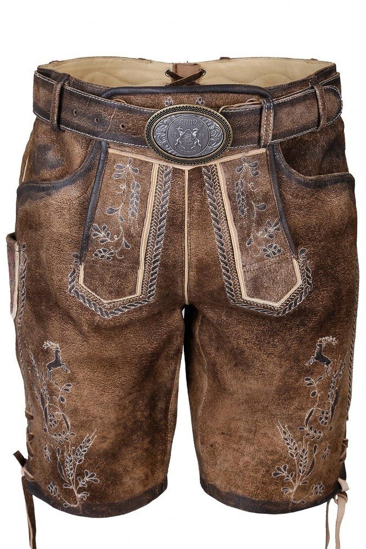 Krüger Hochwertige Kurze Lederhose mit Gürtel - Kurze Lederhose für Herren aus Echtleder - Marken Lederhose von Krüger Buam