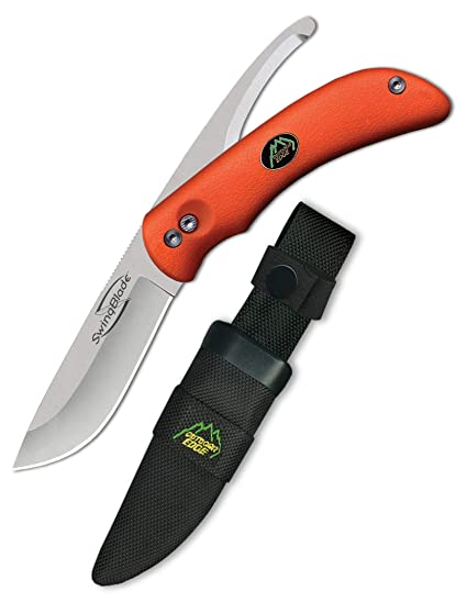 Outdoor Edge Swingblaze Double Blade Hunting Knife With Rotating Skinning & Gutting Blades, Nylon Sheath, (Blaze Orange, Sz 20 Nc) by Outdoor Edge