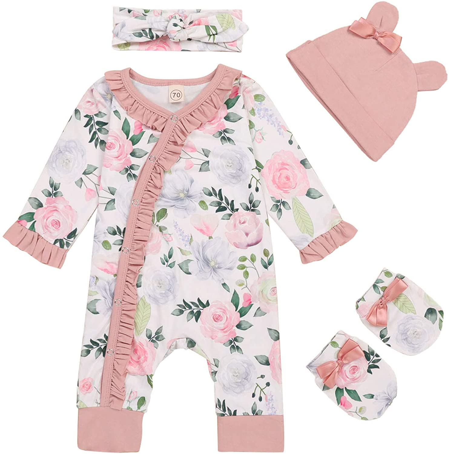 Newborn Girl Floral Jumpsuit Baby Girl Long Sleeve Ruffle Romper Overall Coming Home Outfits
