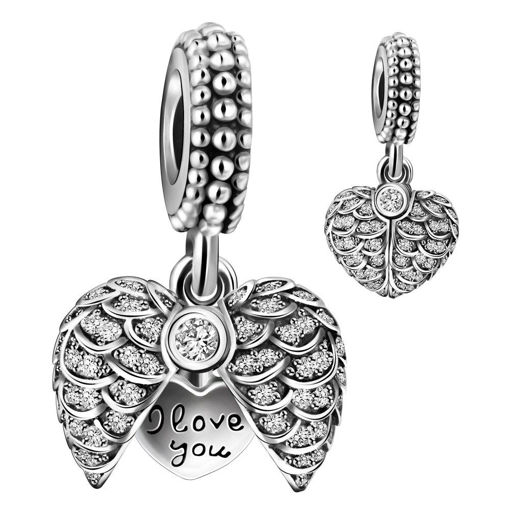 925 Sterling Silver AAA CZ Blue Enamel Angel Wings Open Heart Dangle Charm Bead for European Snake Bracelets ACX008