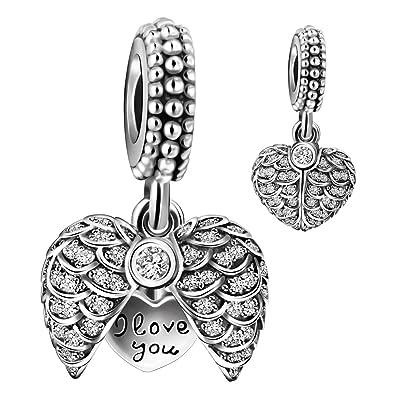2046c0065 925 Sterling Silver Guardian Angel Wings Open Heart Dangle Charm Bead for  European Snake Bracelets